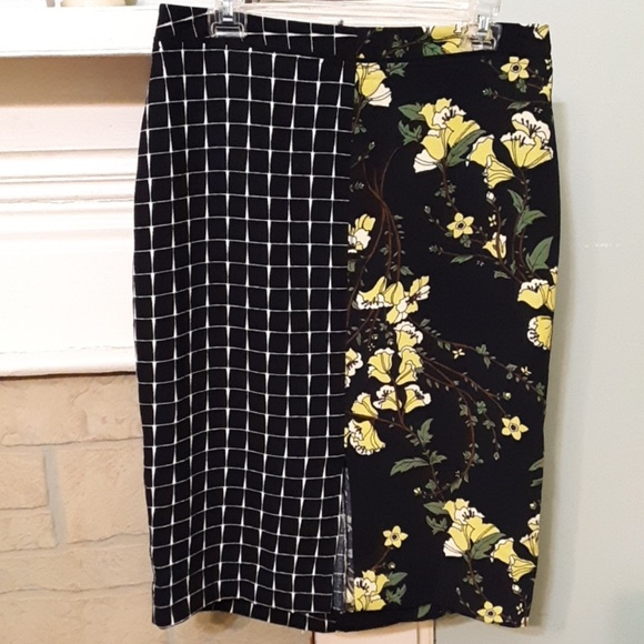 Who What Wear Dresses & Skirts - Who What Wear Plaid and Floral Midi Skirt Sz 10